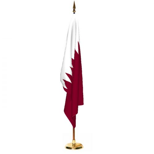 Indoor Qatar Ceremonial Flag Set