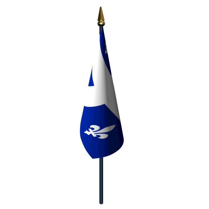 4in x 6in Quebec Flag with Staff and Spear