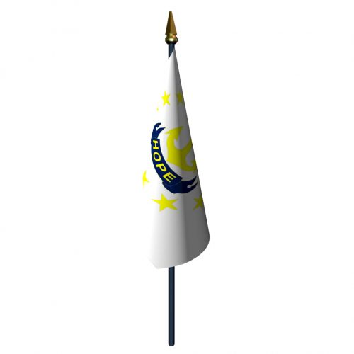 Rhode Island Flag with Staff and Spear