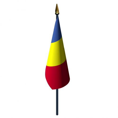 4in x 6in Romania Flag with Staff and Spear