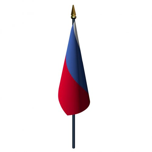 Russia Flag with Staff and Spear