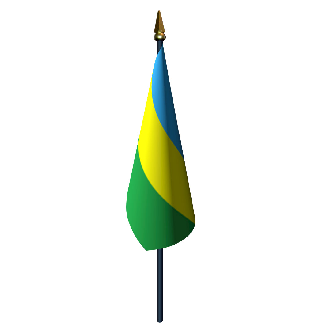 4in x 6in Rwanda Flag with Staff and Spear