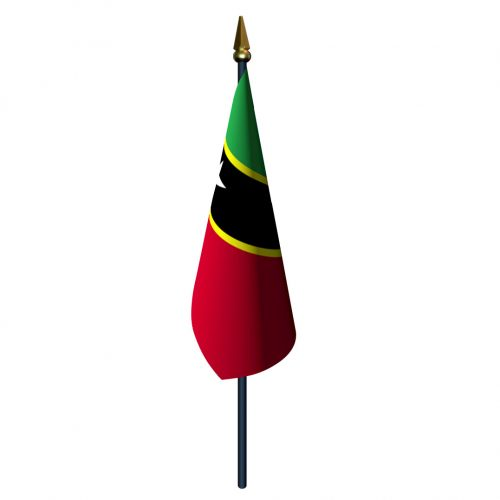 Saint Kitts and Nevis Flag with Staff and Spear