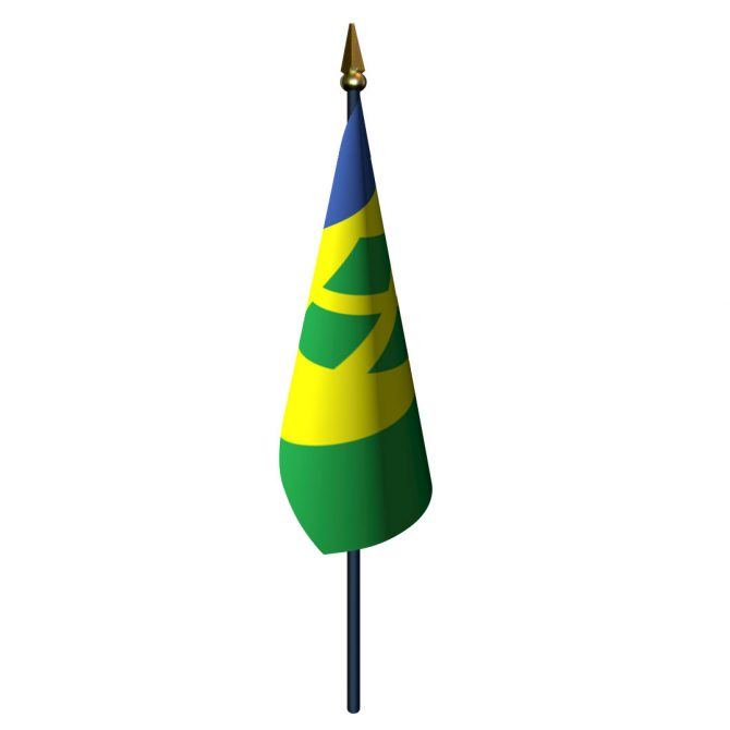 Saint Vincent and The Grenadines Flag with Staff and Spear