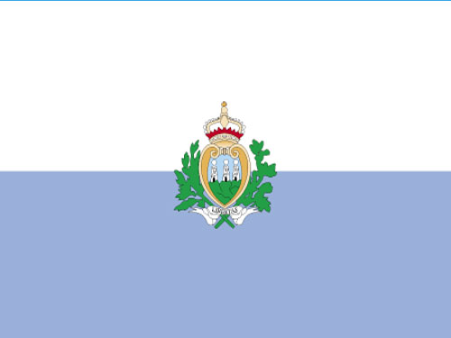 4in x 6in San Marino with Seal Flag with Staff and Spear