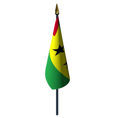 4in x 6in Sao Tome and Principe Flag with Staff and Spear