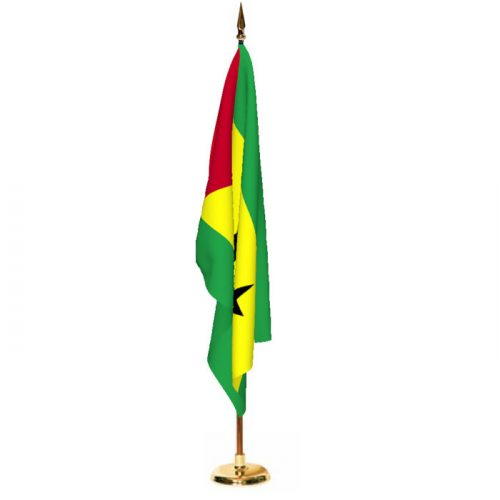 Indoor Sao Tome and Principe Ceremonial Flag Set
