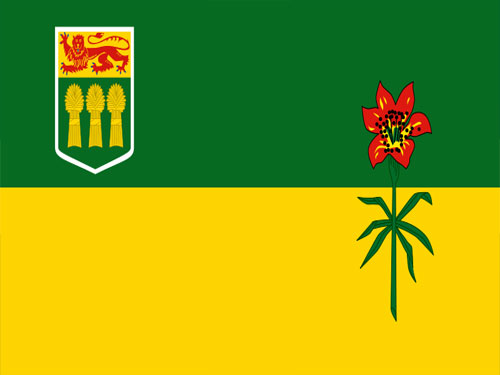 4in x 6in Saskatchewan Flag with Staff and Spear