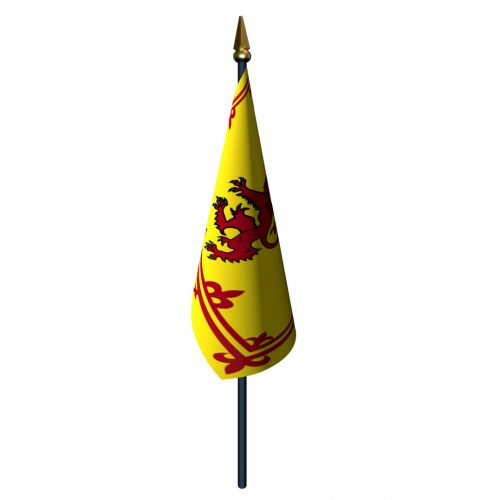 4in x 6in Scotland Rampant Lion Flag with Staff and Spear