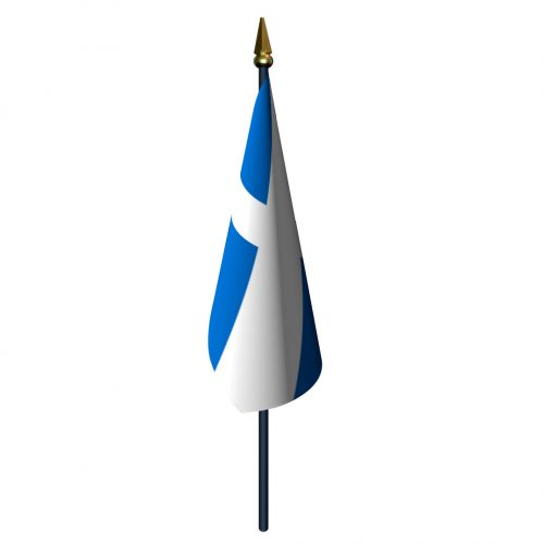 4in x 6in Scotland Saint Andrews Cross Flag with Staff and Spear