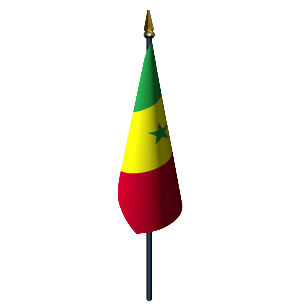 4in x 6in Senegal Flag with Staff and Spear