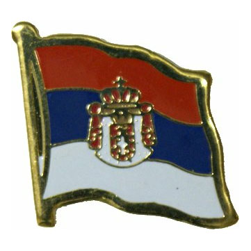 Serbia Flag with Seal Lapel Pin