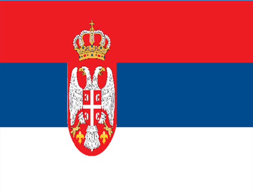 4in x 6in Serbia with Seal Flag with Staff and Spear