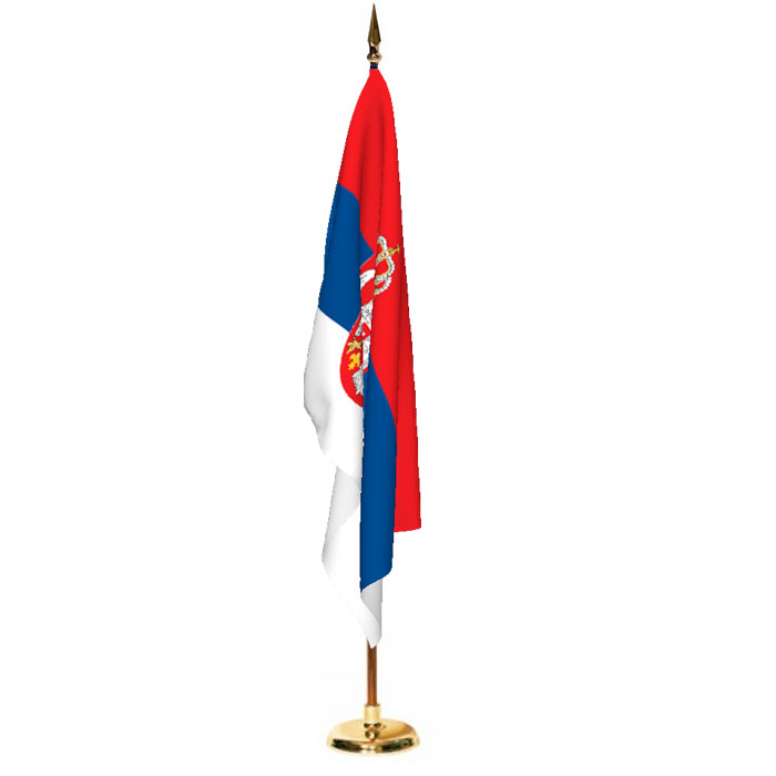 Indoor Serbia with Seal Ceremonial Flag Set
