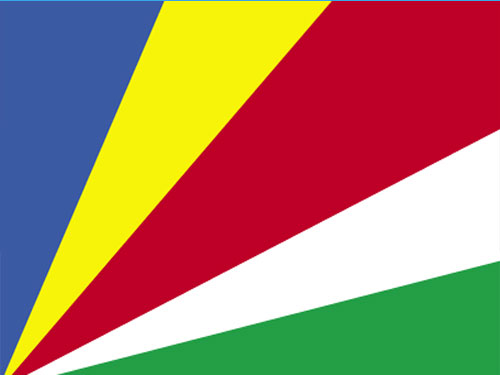 4in x 6in Seychelles Flag with Staff and Spear