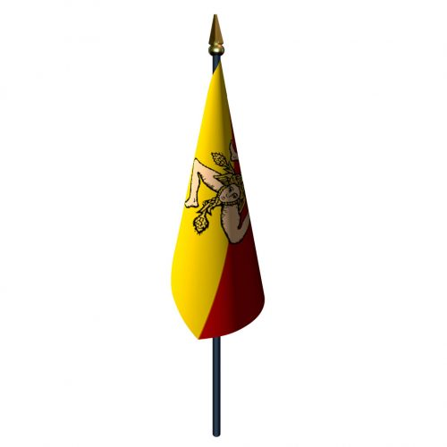 4in x 6in Sicily Flag with Staff and Spear