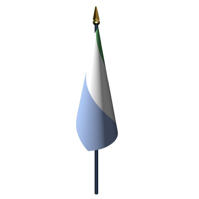 4in x 6in Sierra Leone Flag with Staff and Spear