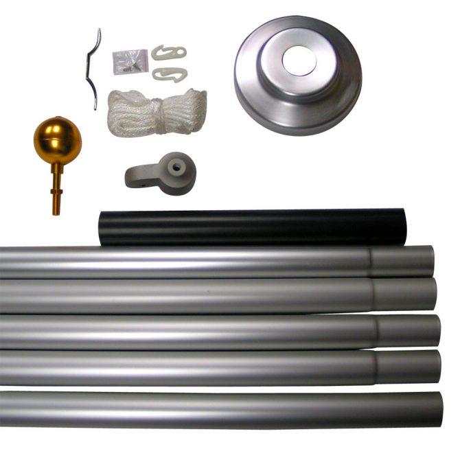 Brushed Aluminum Sectional Flagpole