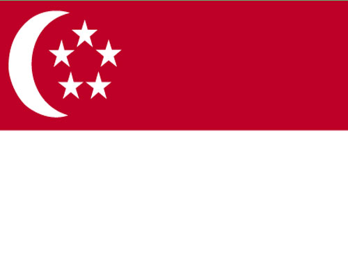 4in x 6in Singapore Flag with Staff and Spear