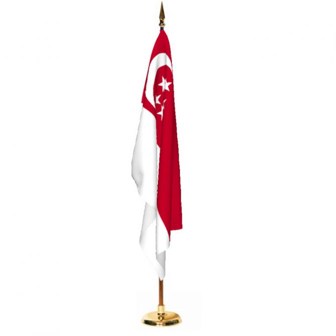 Indoor Singapore Ceremonial Flag Set
