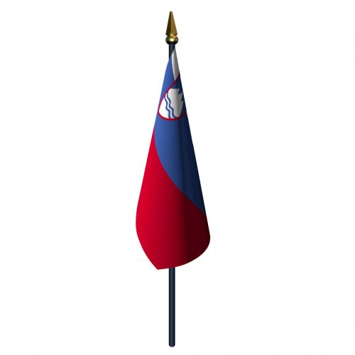 4in x 6in Slovenia Flag with Staff and Spear