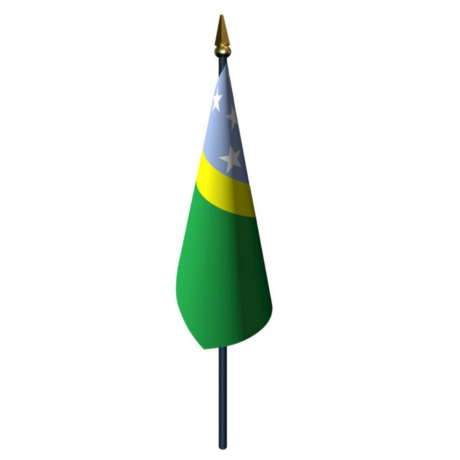 4in x 6in Solomon Islands Flag with Staff and Spear