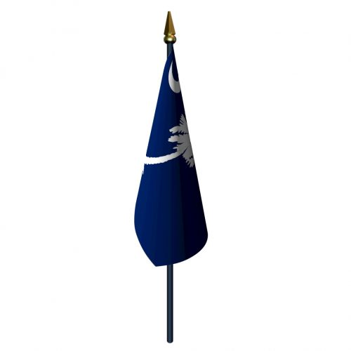 South Carolina Flag with Staff and Spear