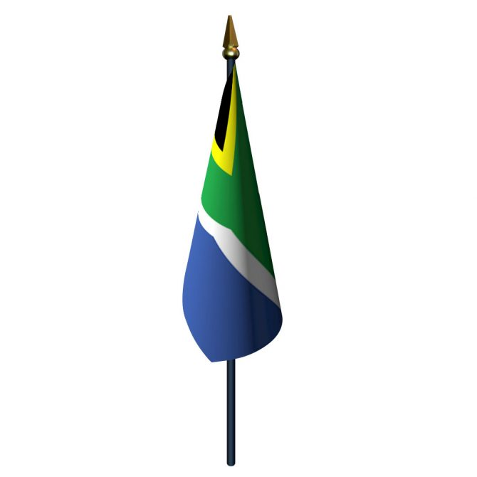 4in x 6in South Africa Flag with Staff and Spear