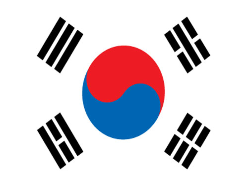4in x 6in South Korea Flag with Staff and Spear