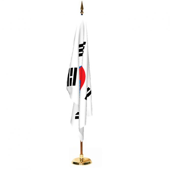 Indoor South Korea Ceremonial Flag Set
