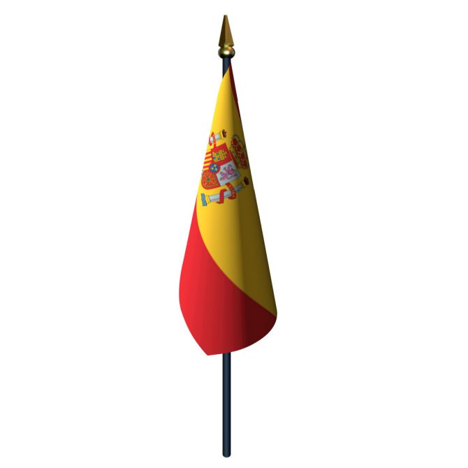Spain with Seal Flag with Staff and Spear