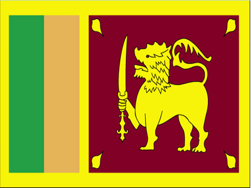 4in x 6in Sri Lanka Flag with Staff and Spear
