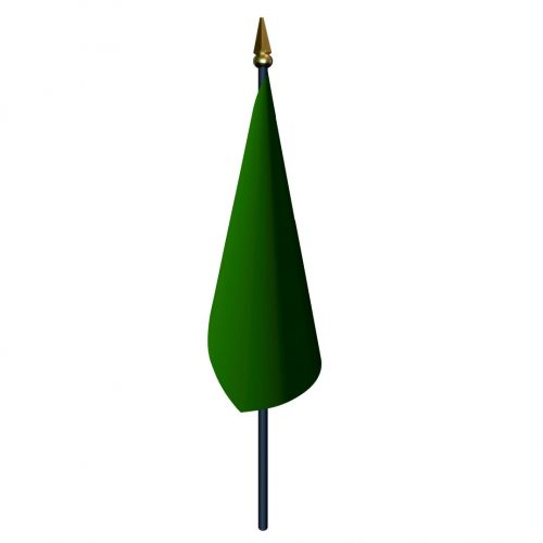 4in x 5in Green Start Flag with Staff and Spear