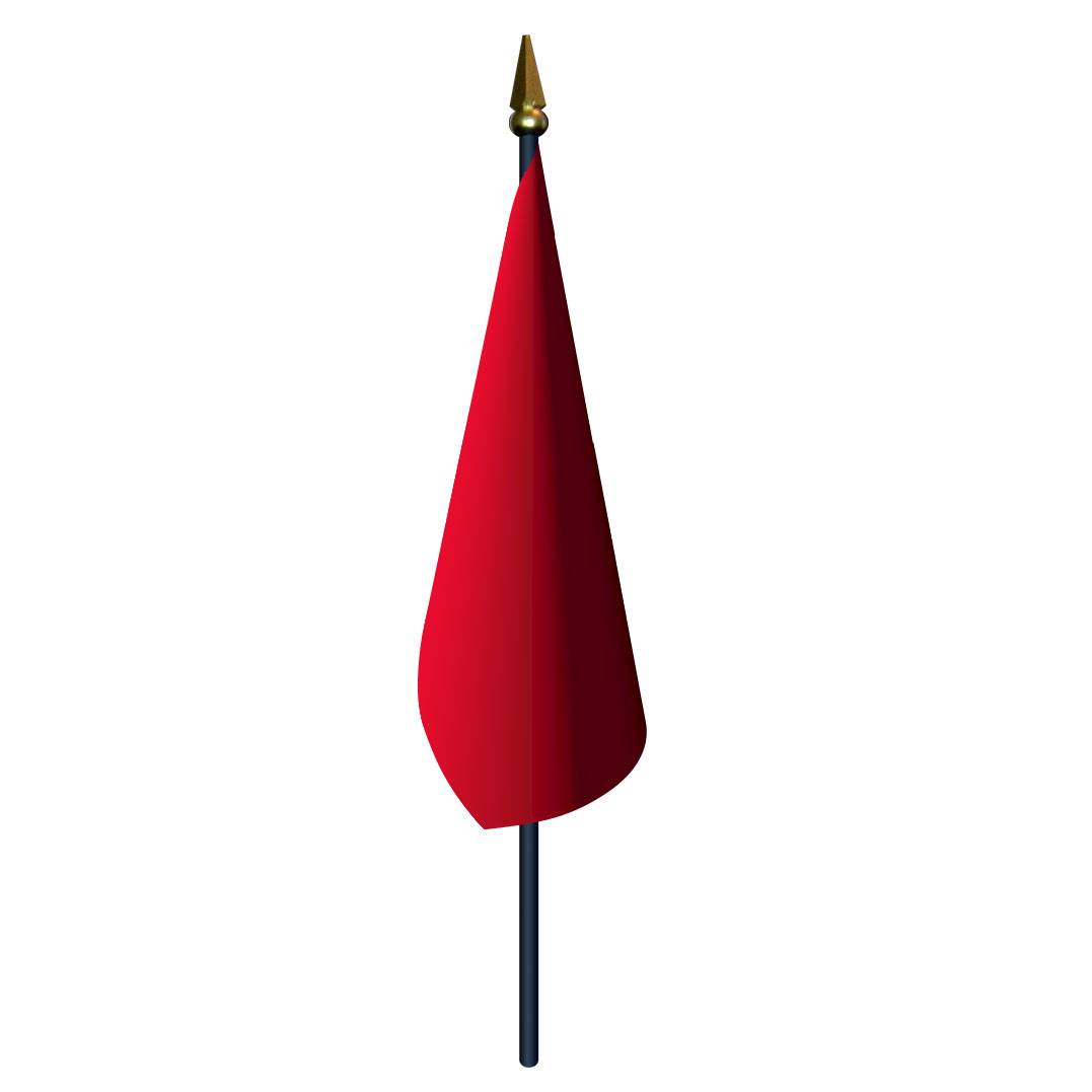 4in x 5in Red Stop Flag with Staff and Spear