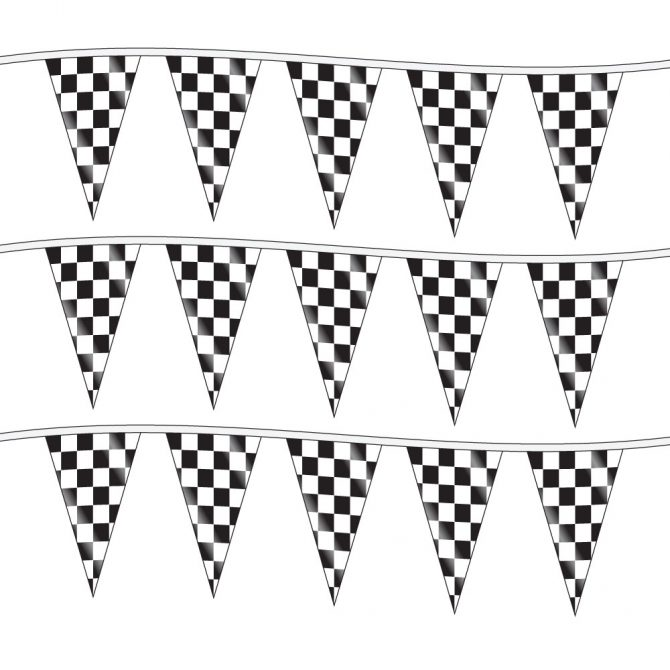 100ft of Plastic Stringed Wide Checkered Pennants