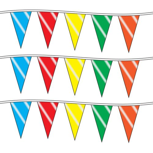 100ft of Plastic Stringed Wide Multi-Colored Pennants