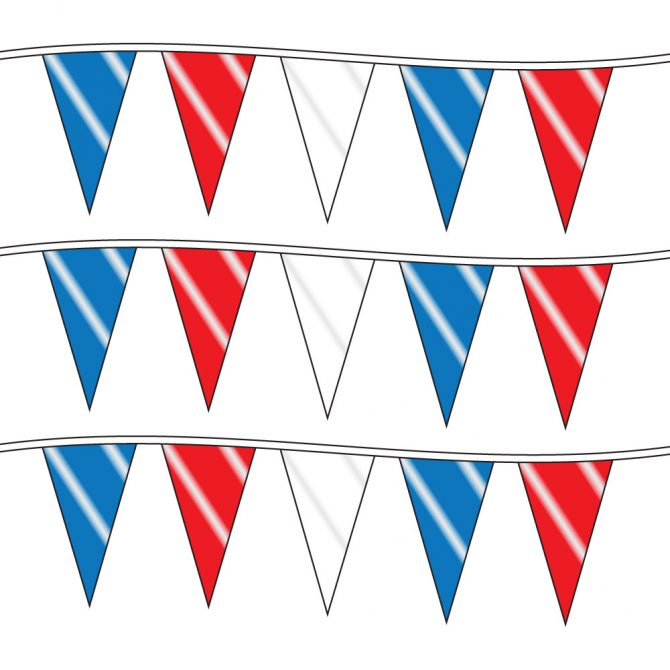 100ft of Plastic Stringed Wide Red, White, and Blue Pennants