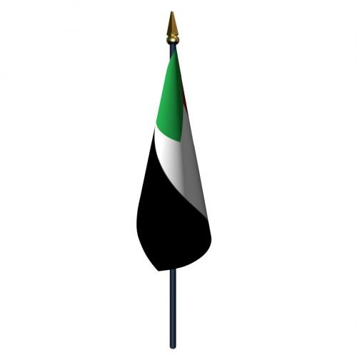 4in x 6in Sudan Flag with Staff and Spear