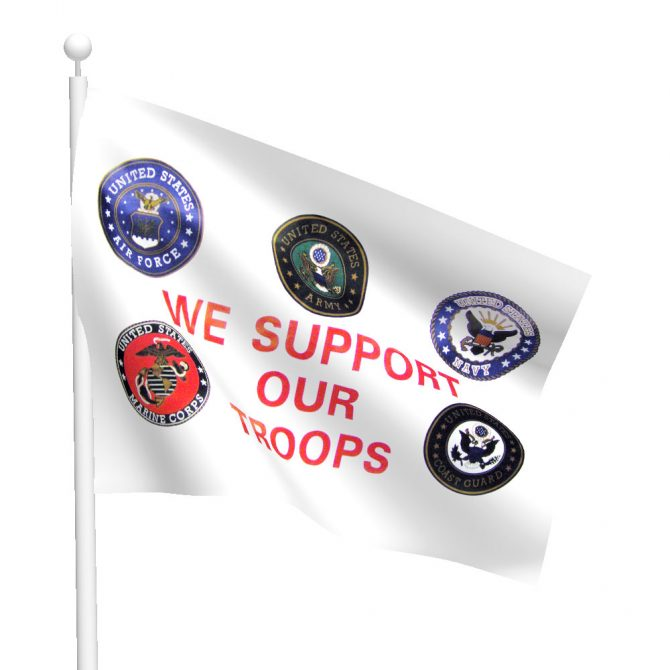 3ft x 5ft We Support Our Troops Flag