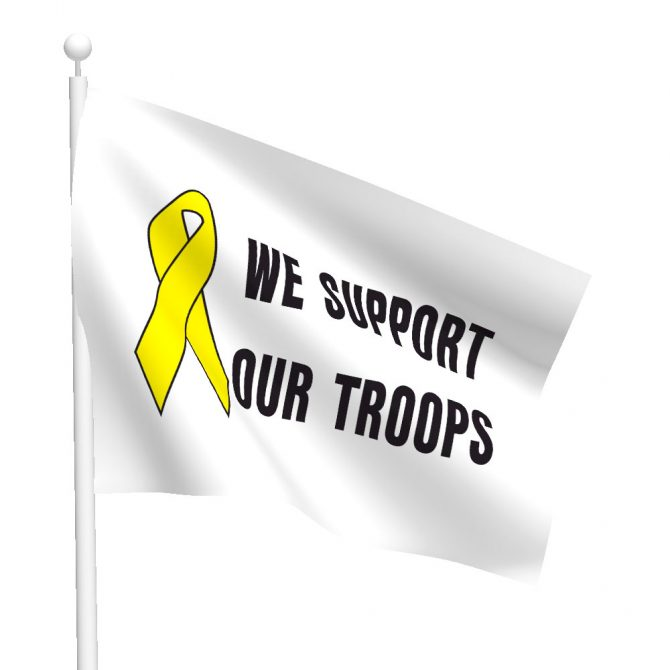3ft x 5ft Yellow Ribbon - We Support Our Troops Flag