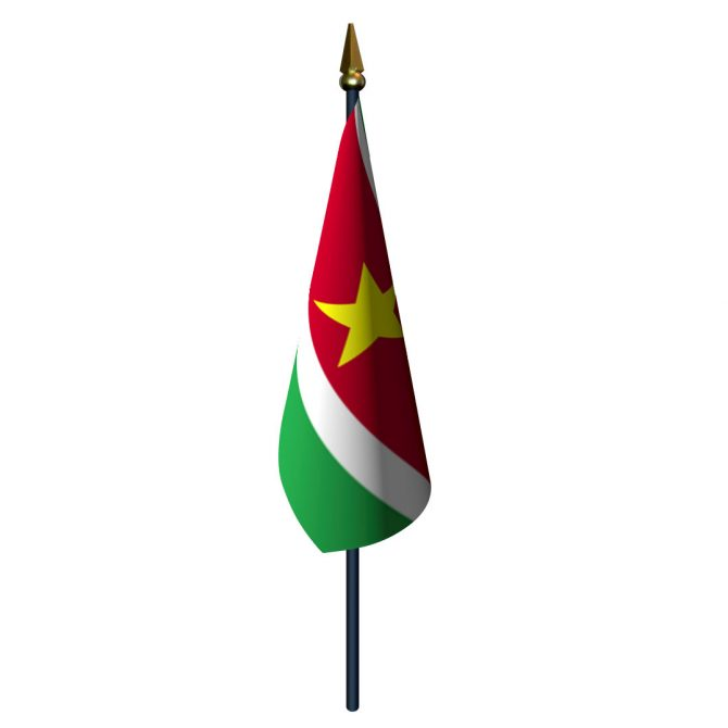 Suriname Flag with Staff and Spear