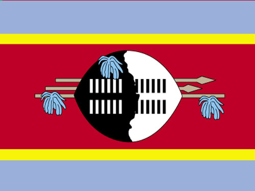 4in x 6in Swaziland Flag with Staff and Spear
