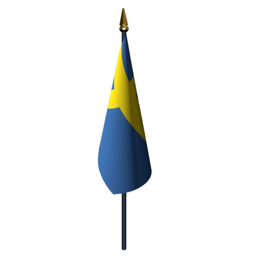 Sweden Flag with Staff and Spear