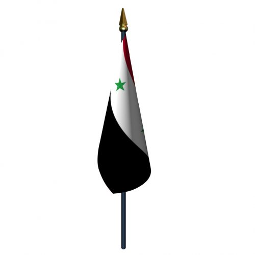 4in x 6in Syria Flag with Staff and Spear