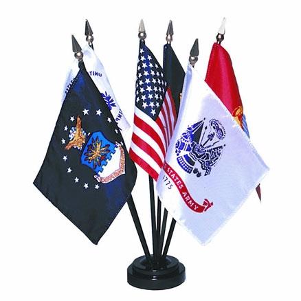 4in x 6in U.S. Armed Forces Desktop Flag Set