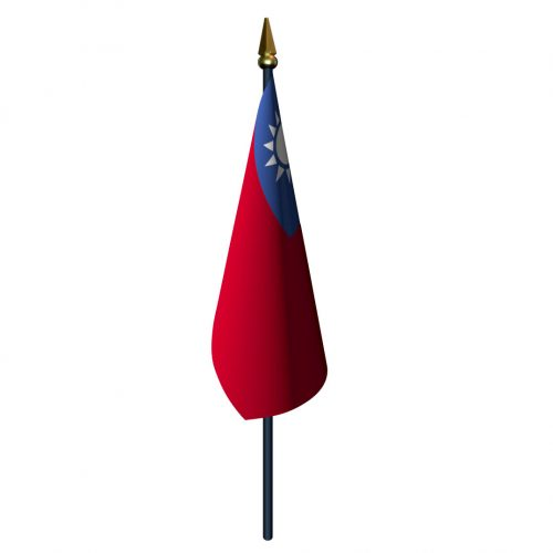 Taiwan Flag with Staff and Spear