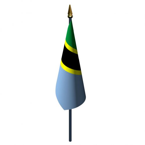 4in x 6in Tanzania Flag with Staff and Spear