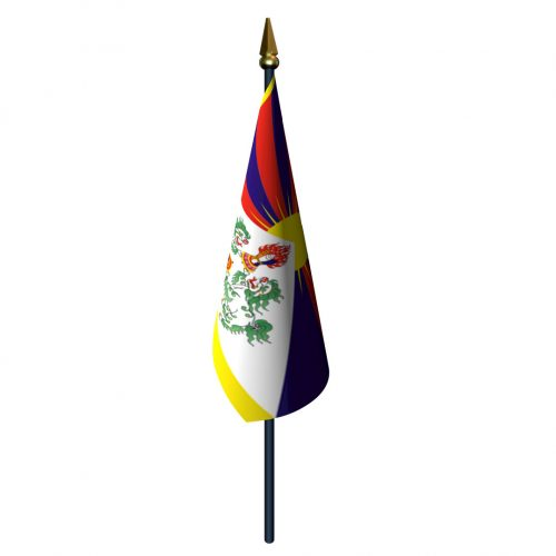 4in x 6in Tibet Flag with Staff and Spear