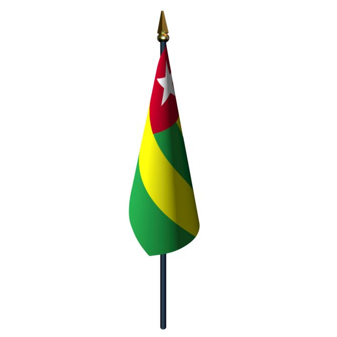 4in x 6in Togo Flag with Staff and Spear