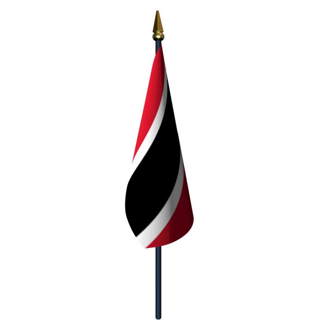 Trinidad and Tobago Flag with Staff and Spear